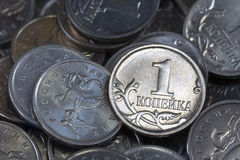 Many Russian coins one copeck Royalty Free Stock Images