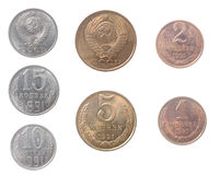 Russian coins.isolated on a white background Royalty Free Stock Image