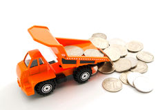 Russian coins and orange truck Stock Photography