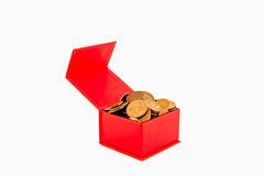 Russian coins in a red box. Isolate. Stock Photos