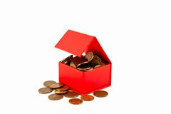 Russian coins in a red box. Isolate. Royalty Free Stock Photos