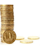 Russian Coins on White Stock Photo