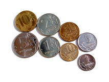 The Russian coins on a white background Stock Photography
