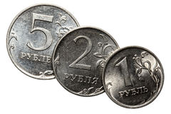 The Russian coins on a white background Stock Photos
