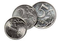 The Russian coins on a white background Stock Image