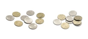 Russian coins on white divided in two groups Stock Images