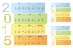 Russian 2015, 2016, 2017 color vector calendars. With vertical numbers. Week starts from Sunday vector illustration