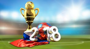Russian colored ball. Football soccer stadium. Golden trophy and. 2018 russian colored ball. Football soccer stadium. Golden trophy and Russia flag 3d rendering Royalty Free Stock Photography