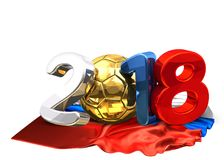 2018 russian colored socccer football 3d rendering with golden b. All and russian flag illustration Royalty Free Stock Photos