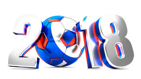 2018 russian colored soccer football ball symbol. 3d rendering. Illustration Stock Images