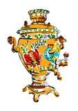 Russian colorful samovar, vector, tea Royalty Free Stock Photo
