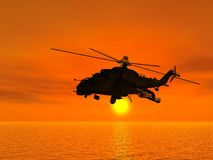Russian combat helicopter. Scene of the Russian combat helicopter flying on by sea royalty free illustration