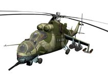 Russian combat helicopter. Scene of the combat helicopter in 3d render royalty free illustration