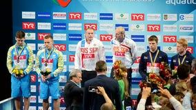 Russian command, European Diving Championships 2017 winner ceremony, Kiev, Ukraine, stock video footage
