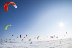Russian competition for snowkiting Marathon Royalty Free Stock Photography