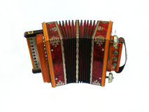 Russian concertina. Old russian concertina isolated on a white background Royalty Free Stock Images