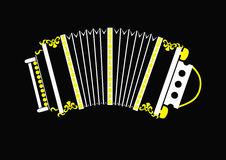 Russian concertina. Stylized  image Russian concertina on a black background Stock Photo