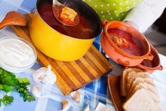 Russian cooked soup with meat, beetroot and cabbage Royalty Free Stock Photo