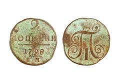 Russian copper coin 2 kopeks kopeyka 1798 Royalty Free Stock Photography