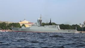Russian corvette `Boiky` on Neva river stock footage
