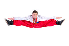 Russian cossack dance. Young dancer jumping Stock Photo
