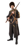 Russian Cossack with a rifle. Young man is wearing vintage uniform of Russian foot Cossack in time First World War. He is member of Historical Reenactment Stock Image