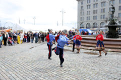 Russian cossack Sabre Dance. HELSINKI, FINLAND - JULY 10, 2015: Russian cossack Sabre Dance on the Market Square at the celebration of the Day of Russia in Stock Images