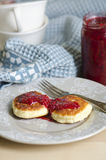 Russian cottage cheese cakes with raspberry jam Stock Photography
