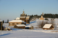 Russian countryside. Winter in the museum of architecture of Urals Royalty Free Stock Photography