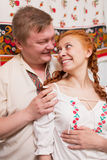 Russian couple in national costume Royalty Free Stock Photos