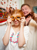 Russian couple in national costume Stock Images