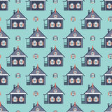 Russian coutry house seamless pattern izba Stock Images