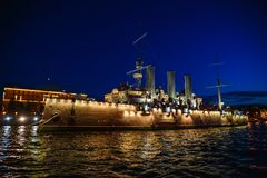 Russian cruiser Aurora or Avrora cruiser in Saint-Petersburg, Russia.  Museum ship in St. Petersburg, view from river Royalty Free Stock Images