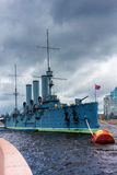 Russian cruiser Aurora, moored in St. Petersburg stock images