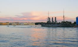 Russian Cruiser Aurora. Saint Petersburg, Russia Royalty Free Stock Image
