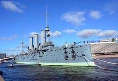 Russian cruiser Avrora, Saint-Petersburg. Russian cruiser Aurora in Saint-Petersburg - legend of Revolution Stock Photo