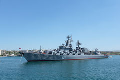 Russian cruiser Moskva in the bay of Sevastopol Stock Photography