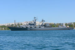 Russian cruiser Moskva in the bay of Sevastopol Royalty Free Stock Image