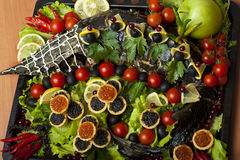 Russian cuisine - baked sturgeon Stock Image