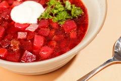Russian cuisine. Borscht Stock Photo