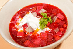 Russian cuisine. Borscht Stock Photo