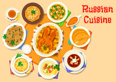 Russian cuisine delicious lunch icon design Royalty Free Stock Photos