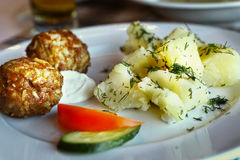 Russian cuisine dish meatball with boiled potato with dill Stock Photos