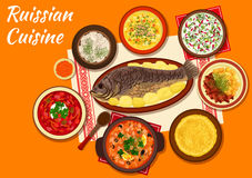 Russian cuisine dishes for dinner menu design Stock Image