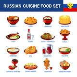 Russian Cuisine Dishes Flat icons Collection Stock Photos