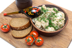 Russian cuisine: dumplings with sour cream and dill. Royalty Free Stock Images