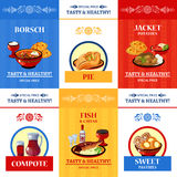 Russian Cuisine Flat Icons Composition Poster Stock Images
