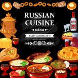Russian Cuisine Menu Black Board Poster. Russian cuisine restaurant menu black board poster with colorful traditional dishes vodka and samovar abstract vector Royalty Free Stock Image