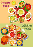 Russian cuisine soup and fresh salad icon set. Russian cuisine soup and fresh salad dishes icon set with vegetable, meat and pasta salad, beef, chicken, fish Royalty Free Stock Photos