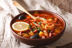 Russian cuisine soup solyanka closeup on the table. Horizontal Stock Photography